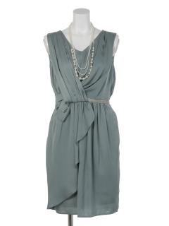ネックレス付ウエストビーズ前リボン風ドレス