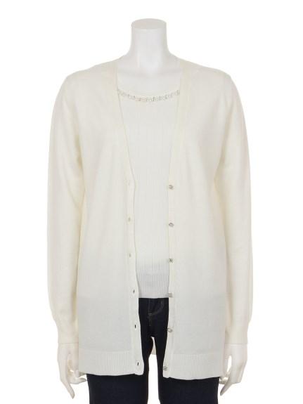 INTERPLANET (インタープラネット) インナー衿ぐり装飾付ワイドリブロングCDツイン オフホワイト