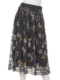 刺繍レースラップ風スカート