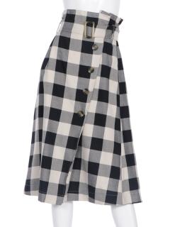 TRブロックチェックベルト付スカート