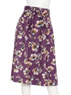グログランフラワープリントウエストリボンスカート
