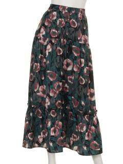 フロントボタン花柄ティアードスカート