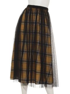 ツイルチェックチュール重ねスカート