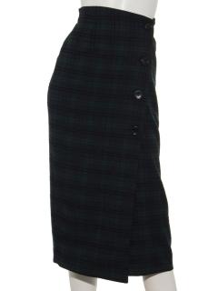 ドビーチェックラップ風タイトスカート