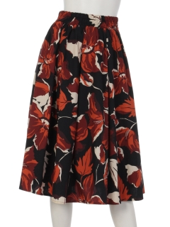 【BeautyByINTERPLANET】ブロードリゾートフラワープリントスカート