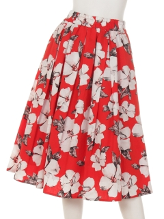【BeautyByINTERPLANET】ブロード水彩単色フラワープリントスカート
