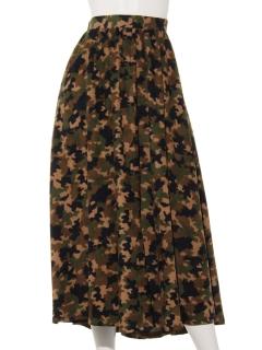 コーデュロイカモフラプリントギャザーフレアースカート