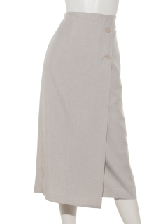 麻調シャンブレーラップ風タイトスカート