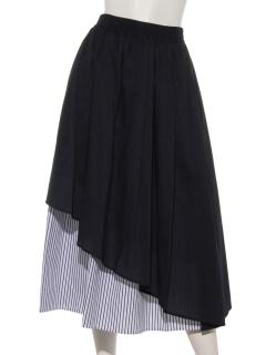 綿ブロード*配色ストライプ切替スカート