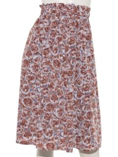 フラワープリントウエストゴムスカート