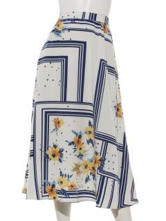 スカーフ柄プリントスカート