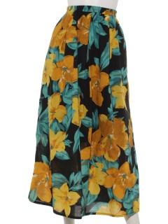 綿ローンリゾートフラワープリントスカート