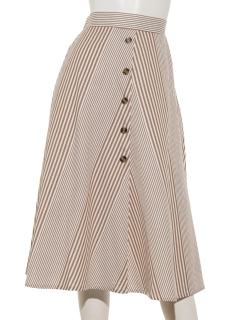 ランダムストライプフロント釦スカート