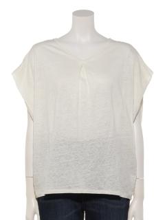 麻100%天竺肩タックフレンチ袖プルオーバー