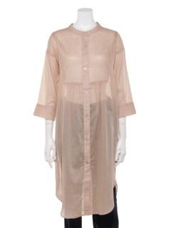綿ローンバンドカラーサイドスリットロングシャツ