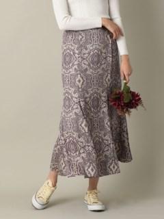 ツイルサテンペイズリープリントスカート