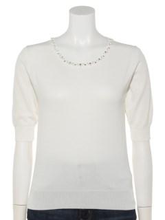 衿装飾5分袖天竺プルオーバー