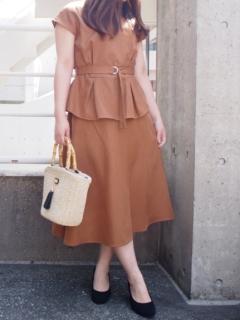 麻調ブッチャーブラウス+スカート SET