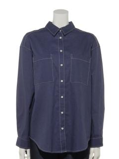 リネンコットンBACKギャザーシャツ