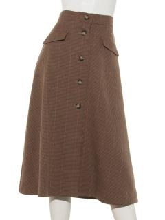 ウール調合繊前釦フレアースカート