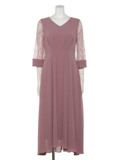 シアースリーブアイラインセミロング丈ドレス