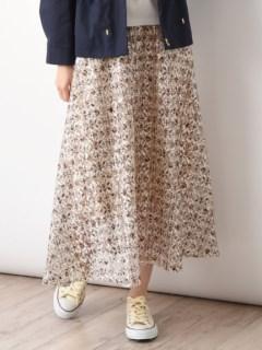 レース小紋柄プリントフレアースカート