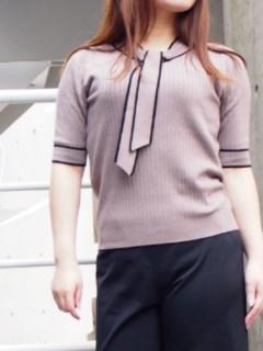 5分袖配色タイ付ワイドリブプルオーバー