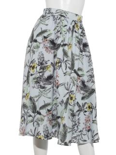 麻調パームツリープリントスカート