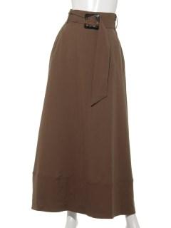 リネンライク共ベルト付きスカート