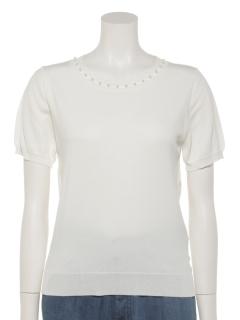 天竺衿パール装飾半袖プルオーバー