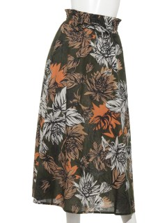リゾートボタニカルプリントウエストシャーリングスカート