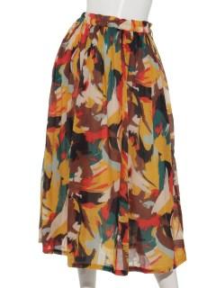 コットン100%アフリカンペイント柄スカート