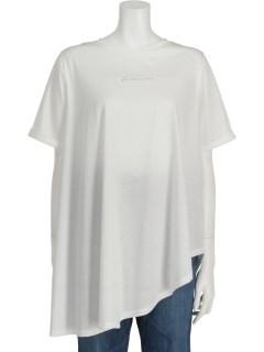 アシメドレープロゴ半袖Tシャツ