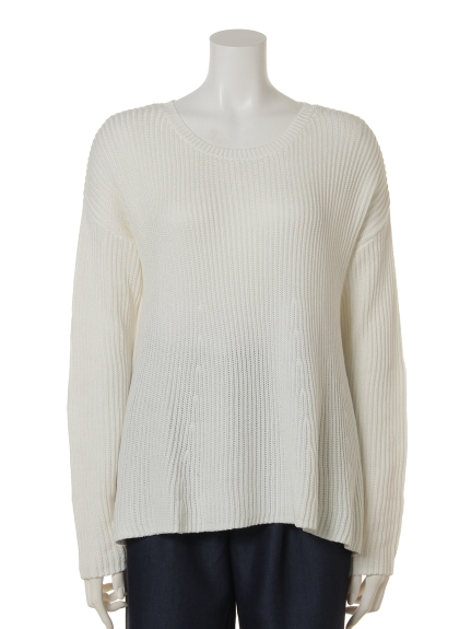 Actuel OUTLET (アクチュエルアウトレット) 121釦付き畦Aラインknit オフホワイト