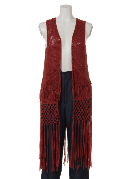 81%OFF Actuel OUTLET (アクチュエルアウトレット) 【MINKPINK】FringeHemKnitVest レンガ