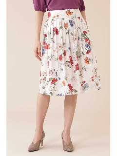 [TV着用][洗える]《Purpose》オーバーラップドフローラルプリントスカート