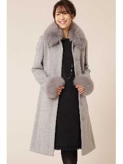 襟カフスファー付ステンカラーコート