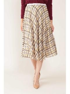 ◆[ウォッシャブル]シアーチェックフレアースカート