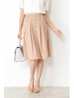 ◆[ウォッシャブル]ポリエステルツイルフロントボタンタックフレアースカート