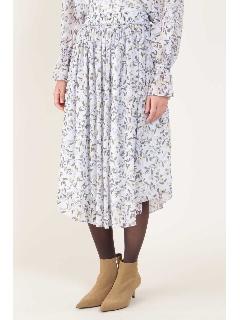 ◆[ウォッシャブル]フラワープリントウェストゴムギャザーフレアースカート
