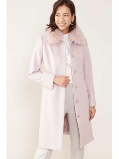 ◆カシミア混フォックスファー襟ステンカラーコート