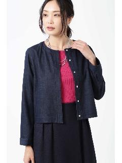 ◆ノーカラーデニムジャケット