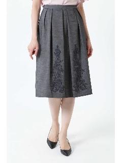 ◆フラワー刺繍タックスカート