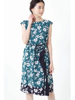 ◆[ウォッシャブル]スカーフエッジフラワーワンピース