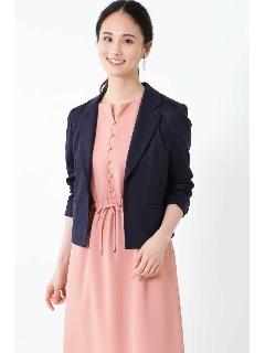 ◆[ウォッシャブル]ミラノリブテーラードボックスシルエットジャケット