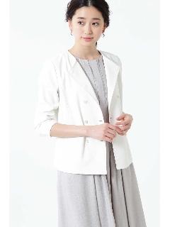 ◆[ウォッシャブル]麻混ダブルジャケット