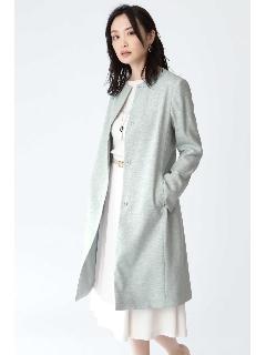 ◆麻調ノーカラーベルト付きコート