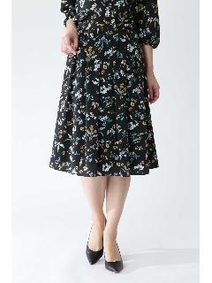 ◆[ウォッシャブル]ボタニカルフラワーリバティプリントスカート