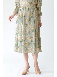 ◆[ウォッシャブル]ライラックリバティプリントスカート