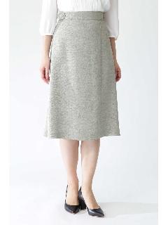 ◆[ウォッシャブル]リネンライクツイルフレアーラップスカート